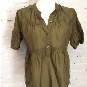 J.Crew Tiered Blouse Short Sleeve Green 2